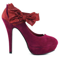 Ladies Sexy Bow Ankle Strap Suede Stiletto Platform High Heel Pumps Party Shoes