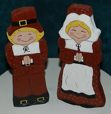 CUTE HAND PAINTED WOOD PILGRIM COUPLE! THANKSGIVING/FALL #2