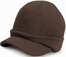 Warm Winter Peaked Peak Beany Beanie Jeep Cap Hat Mens Mans Brown