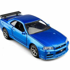 1:36 Nissan Skyline GTR R34 Model Car Diecast Toy Vehicle Pull Back Blue Kids