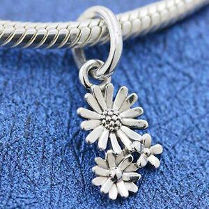 Genuine .925 STERLING SILVER Daisy Flower Bouquet Pendant Bracelet Charm Bead