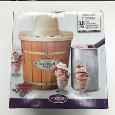 Nostalgia 4-Quart Wood Bucket Electric Ice Cream Maker