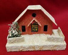 Vintage CHRISTMAS Red house/Church Cardboard 1950s Japan Glitter Snow