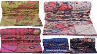 COTTON HANDMADE ETHINIC KANTHA STITCH QUILT THROW BLANKET QUEEN INDIAN FLORAL