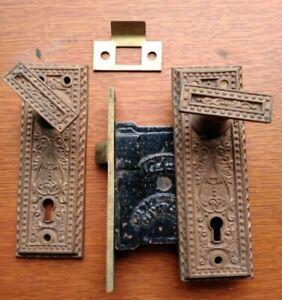 Antique Rectangular Doorknobs, Fancy  Brass Doorplates, Gilbert Lock Pat 1876