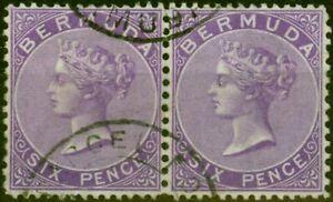 Bermuda 1903 6d Bright Mauve SG10a Fine Used Pair