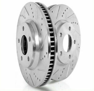 2 Disc Brake Rotors Front Extreme Performance Drilled Slotted Vented