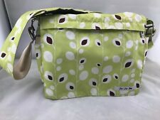 Ju-Ju-Be Green White and Brown Diaper Shoulder Bag With Changing Pad