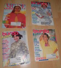 4x burda heft mode für vollschlanke schnittmuster bogen hefte alt 1980 / 1990