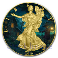 2019 1 Oz Silver $1 US SPACE FORCE EAGLE Coin WITH 24K GOLD GILDED.
