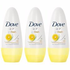 3 x Dove Go Fresh Grapefruit Lemon Anti-perspirant Deodorant Roll On Women 50ml