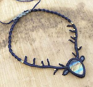 Horn Style Macrame Necklace Pendant Jewelry Labradorite Cabochon Stone Handmade