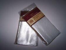 "2 Pillowcases Silky Satin Cases-WHITE-Standard Set-20""x30""-NEW"