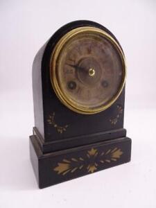 Antique Waterbury Miniature Shelf Mantel Clock Alarm Victorian 1890s Iron Case