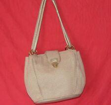 Vintage Pocketbook Gold Accent Purse Shopper Tan Woven Straw Woman's Handbags