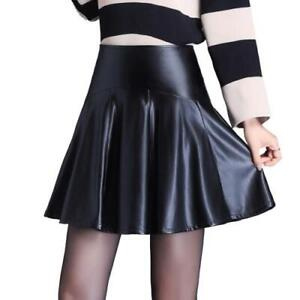 Women's A-Line Short Skirt Pleated Faux Leather High Waist Slim Fit Formal OL L