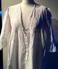 """Antiguo 19TH C Damas Camisón de cuello en V Algodón Blanco romántico & Lace B 40"""""""
