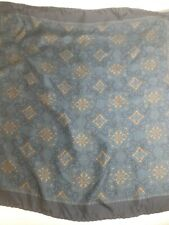 Italian Silk  Scarf Pocket Square Handkerchief Hand Rolled BLUE & GOLD