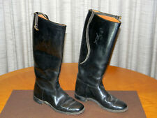 Antique Equestrian Black Leather Horse Riding Boots Ladies Size 7