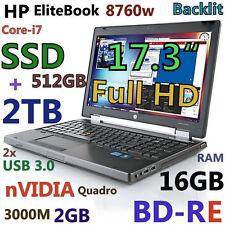 "(3D-Design Game FHD) HP 8760W 17.3"" i7-QUAD (BD-RE 512GB-SSD + 2TB 16GB) nVIDIA"