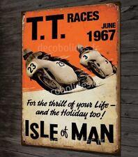 Plaque métal déco 40x30cm TT tourist trophy 1967, moto vintage île de Man