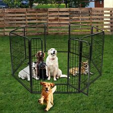 Foldable 8 Panels Metal Pet Dog Puppy Cat Exercise Fence Barrier Playpen Kennel