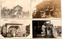 Vintage Postcard Lot Of 4 Real Photo Social Famity Gathering Unposted 1e