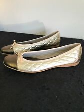 """New French Sole """"Paspo-r"""" Leather Cap Toe Slide Flats Pewter / Gold Sz 9.5M Rare"""