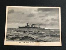German Kreuzer Karlsruhe Battleship Postcard Urbhans Kiel Germany Whermacht