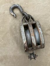 Large Antique Anvil Brand Wood And Steel Double Block & Tackle Original Barn
