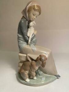 Lladro Devotion Jealousy Figurine Girl w Lamb & Dog Glossy Porcelain 1278 No Box