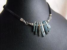 RAW DRUZY KYANITE gemstone cluster necklace velvet cord light blue ethnic wicca