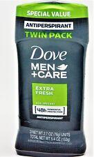 2 PACK Dove Men+Care 48 hour Antiperspirant Extra Fresh 2.7oz each D3