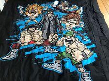WWE Wrestling Black FULL Comforter RARE Cartoon Cena,HHH,Rey Mysterio,RARE EUC
