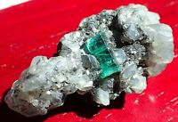 Rare Untreated Terminated Natural Muzo Colombia Emerald Crystal & Calcite Matrix