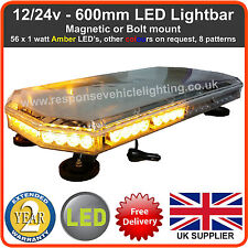 """600MM 60CM 24"""" MAGNETIC LED AMBER LIGHT BAR STROBE BEACON RECOVERY VEHICLES 56W"""