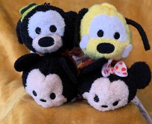 Disney TSUM TSUM Mickey ,Minnie ,Pluto, Goofy Plush Characters Lot of 4 NWT