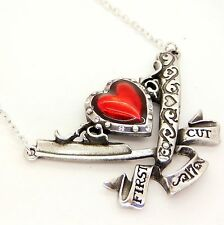 Alchemy UL17 First Cut Razor Heart Pendant Necklace Red Enamel Crystal Pewter