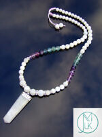 Moonstone Fluorite Crystal Natural Gemstone Macrame Necklace Healing Stone