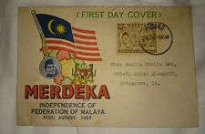 Tunku Portrait 1957 Merdeka Malaya Tunku Abdul Rahman stamp FDC Green Header