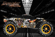 "TRAXXAS RUSTLER GRAPHICS DECALS WRAP ""LUCKY"" FITS OEM BODY PARTS ORANGE"