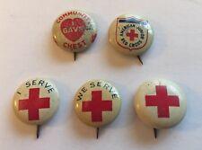 5 Vintage Small Pinbacks Red Cross American Jr Red Cross & Community Chest