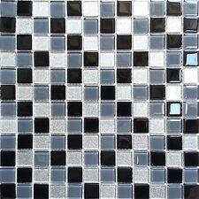 1 SQ M Black Grey Glitter Silver Glass Splashback Mosaic Wall Tiles 0014