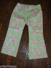 Lilly Pulitzer * Lime GREEN & PINK Elephant * Stretch CROP Pants CAPRIS * sz 4