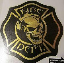 "Firefighter Decals, Florentine  3.75"", Skull, Fire Department, Black   #FD114"