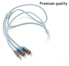 3M/9FT 3.5mm Stereo male to 2RCA male extension Audio Cable for iphone mp3 ipod
