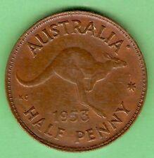 1953  AUSTRALIAN BRONZE HALFPENNY  COIN