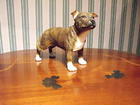 BRINDLE STAFFORDSHIRE BULL TERRIER BROWN STAFFY ORNAMENT FIGURINE / MODEL GIFT