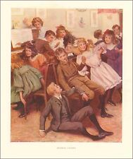 Children Play Musical Chairs, Game, antique print, authentic 1910