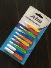 AIM Interdental Brush 10 Brushes+2 Travel Caps ALL AGES Gr8 For BRACES + Plaque